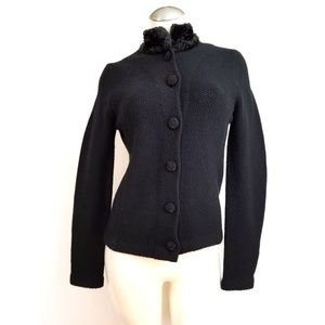 Ralph Lauren Size XS Black Cardigan Fur Collar